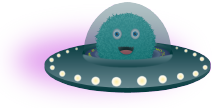 Blue Kodable Fuzz Character in Space Ship